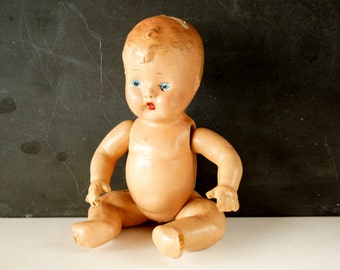 Vintage / Antique Composition Baby Doll with Molded Hair and Jointed Arms and Legs (10 inches) N3 - Collectible, Doll Parts
