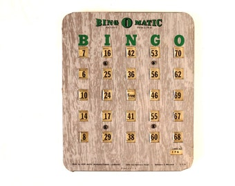 Vintage Metal Bingo Board Card with Metal Shutters, Bing O Matic (1950s) - Family Game Room Decor, Collectible, Altered Art Supply