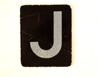 "Vintage Alphabet Letter ""J"" Card with Textured Surface in Black and White (c.1950s) - Ephemera, Altered Art, Scrapbook, or Journal Supply"