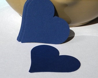 50 heart tags - navy blue heart punches - wedding favor tags, gift tags, hang tags, paper tags