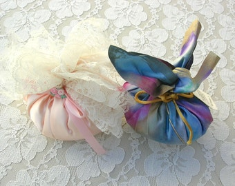 SUMMER SALE 2 Large Scented Silk Sachets, pink & rainbow