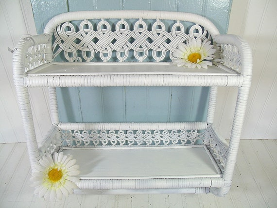 vintage white wood and woven wicker shelf 2 shelves towel. Black Bedroom Furniture Sets. Home Design Ideas