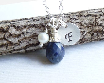 Birthstone Initial Pearl Charm Trio Necklace -- 925 Sterling Silver -- You Choose the Stone and Initial