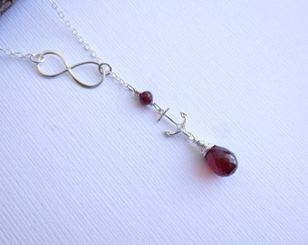 Sterling Silver Infinity and Anchor Birthstone Lariat Necklace  -- Choose Your Stone