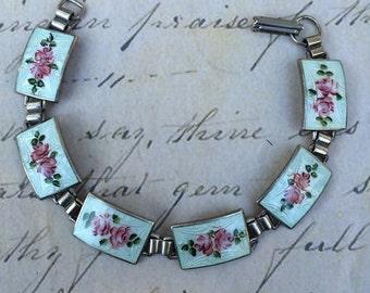 Sterling white enamel guilloche rose bracelet
