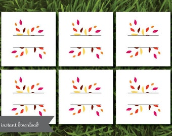 Thanksgiving Dinner Place Setting Cards Instant Download DIY