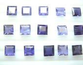 10 Pc Gorgeous Blue Iolite Square Cut Stone 10x10mm Wholesale Price