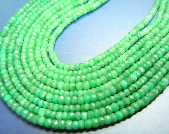 Emerald Corundum Beads Faceted Rondels 14 inches  truly beautiful stunning quality size approx- 3mm to 5mm wholesale price
