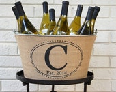 20% OFF! Monogrammed Burlap Wine Tub - rustic beverage service for your wedding or party