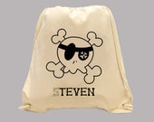 Cute Pirate Skull Personalized Canvas BACKPACK  -- Boy and Girl Images, ANY COLOR print