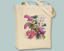 Pink and White Vintage Botanical Flower illustration on Canvas Tote -- Selection of  sizes available