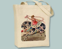 Vintage Circus Performing Girl and Horse Canvas Tote -- Selection of sizes available