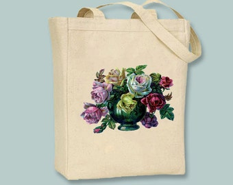 Beautiful Victorian Roses in Vase illustration on Canvas Tote -- Selection of sizes available