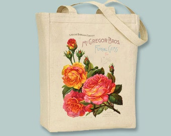 Beautiful McGregor Bros. Floral on Natural Tote -- Selection of sizes available