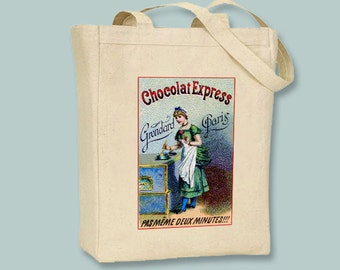 Vintage Parisian Chocolat Advertisement Natural or Black Canvas Tote -- Selection of sizes available