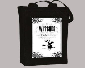 Vintage Witches Ball Vintage Collage Illustration  Natural or Black CanvasTote - Selection of sizes available
