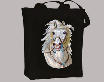 Vintage White Horse Head Natural or Black Canvas Tote -- Selection of sizes available