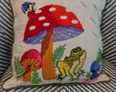 60-70's Mid-Century Modern Hand Crafted Needlework Mushroom Toadstool Crewel Pillow