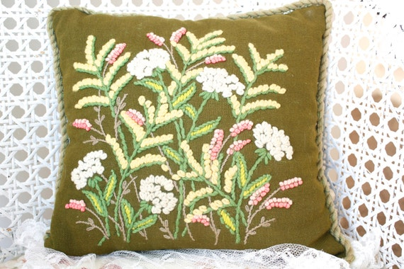 Vintage Shabby Chic Pillow Crewel Work Pillow Floral Throw