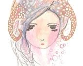 Aries Art Zodiac Girl Illustration Art Print by Coramantic