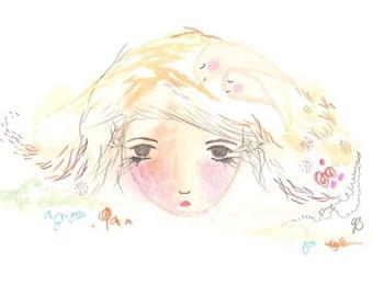 Girl illustration original drawing painting sleepy insomnia