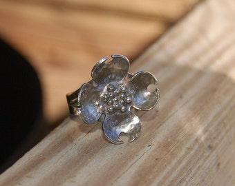 Silver Dogwood Ring