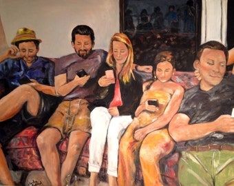 Family Reunion 30 x 40 Kids and cell phones, Cell Phone Art, Original Oil Painting by Marlene Kurland