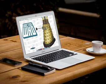 Digital Doctor Who Dalek Computer Desktop Wallpaper/ Geekery/ Art/ Apple/ PC