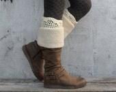 Fanny Boot Cuffs Crochet Boot Tops Women Winter Boot Toppers Warm Boot Socks Wool Cream Boot Crochet Boot Warmers - BC0007