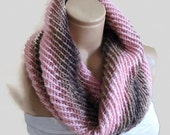 infinity scarf, cowl, neck warmer, Circle Scarf, soft, hand knit, unisex, women,  Brown, pink, pastel