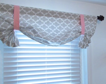 Tie Up  Valance Lined Valance  French Gray Quatrefoil/ Custom Sizing Available!