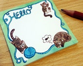 Playful Kittens Hello Sticky Note Pad small Stationery