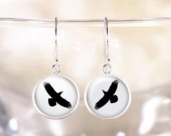 Sterling Silver Raven Earrings - Silver Bird Jewelry, Silver Dangle Earrings, Flying Bird Silhouette Earrings, Raven Jewelry, Bird Earrings