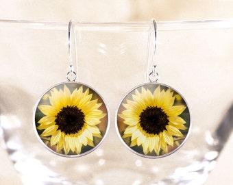 Sterling Silver Sunflower Earrings - Genuine Silver Flower Jewelry, Sun Flower Photo Jewelry, Sunflower Jewelry, Flower Dangle Earrings