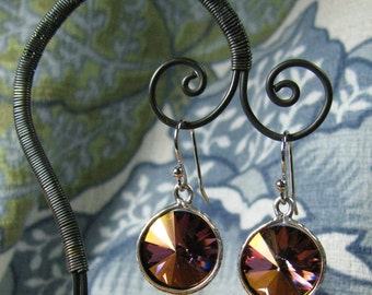 Earrings - 14mm Swarovski Rivoli, Deep Pink with Silver (E-214)