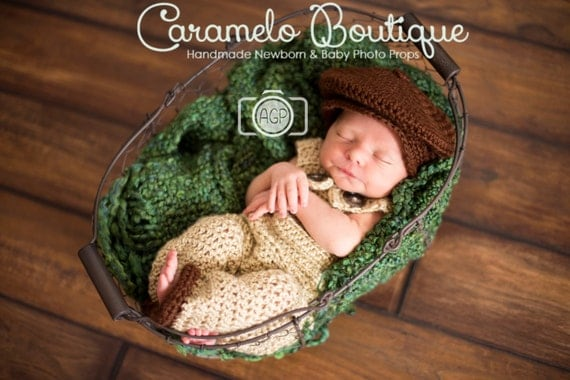Baby Boy Vintage Inspired Outfit Set: Newsboy Hat and Overall-Baby Boy Ouftit-Baby Boy Photography Prop-Newborn Photo Prop-Baby Newsboy Hat
