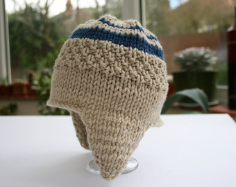 Newborn Hat, Aviator Hat, Newborn Photo Prop, Baby Boy Hat, Knit Baby Hat, Wool Baby Hat