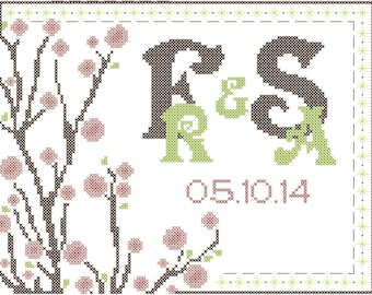 Modern Cherry Blossom Wedding Cross Stitch Pattern Bride and Groom Initials and Date