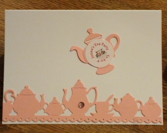 Set of 6 Pink Tea Party Teapot and Tea Cup Note Cards Invitations Greeting Thank You Cards with Die Cuttings and Custom Stickers