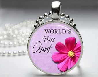 Best Aunt Round Pendant Necklace with Silver Ball or Snake Chain Necklace or Key Ring