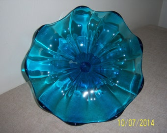 Vintage Art Glass Candy Dish   -   Glass Mid Century Mod Bowl - Decorative Glass Compote Dish - Scalloped Edge Glass Bowl - Clear Blue Glass
