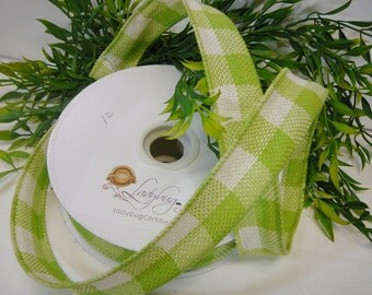 Burlap Ribbon, Checkered Ribbon, Wired Burlap Ribbon, Lime/ Cream Plaid, 1.5 Inch Ribbon 5 Yard ribbon Spool, Wire Ribbon, Wire Edge Ribbon