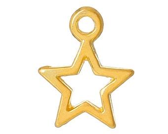 20 Bright Gold Plated Open STAR Charm Pendants  chg0132