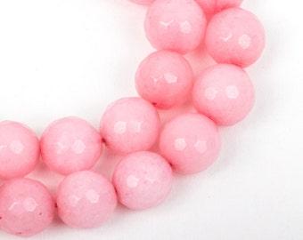 10mm Round Faceted BABY PINK JADE Gemstone Beads, full strand gjd0066