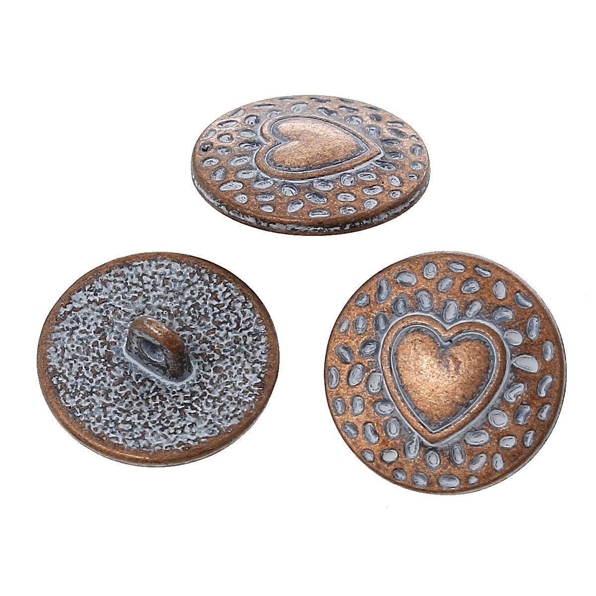 10 copper shank buttons heart 18mm 3 4 diameter for Buttons with shanks for jewelry