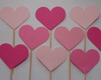 24 Mixed Pink Heart Cupcake Toppers - Party Picks - Food Picks