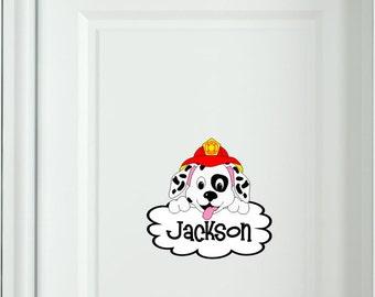 Bedroom door sign Custom name Dalmatian Puppy Fireman Dog Kids Wall Fabric decal