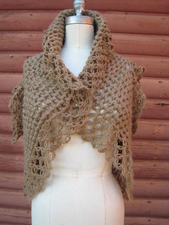 Vintage Handmade Cocoa Colored Crochet Shawl Sweater