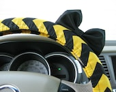 Steering Wheel Cover Bow, Harry Potter Hufflepuff Inspired Black and Yellow Chevron with Black Bow, Black Gold Wheel Cover and Bow BF11263