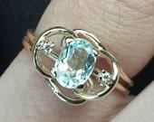 Vintage 14k Gold Aquamarine & Diamond Ring - Unique Engagement Ring